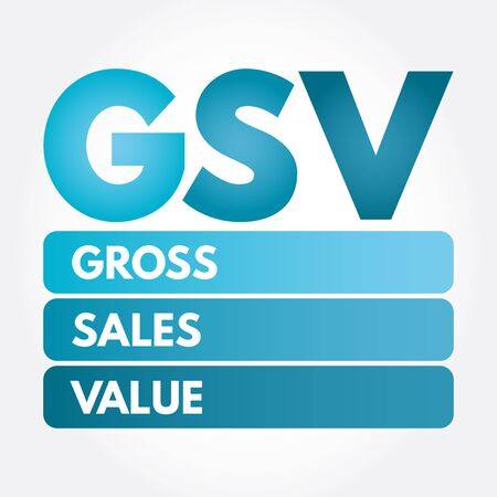 GSV - Gross Sales Value acronym, business concept background