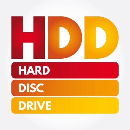 HDD - Hard Disc Drive acronym, technology concept background  イラスト・ベクター素材
