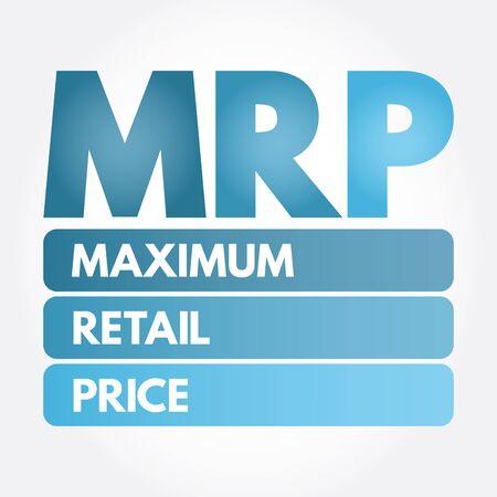 MRP - Maximum Retail Price acronym, business concept background Standard-Bild - 133065523