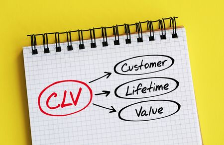 CLV - Customer Lifetime Value acronym, business concept background