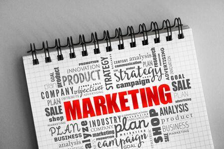 Nube de palabras de marketing, antecedentes del concepto de negocio Foto de archivo