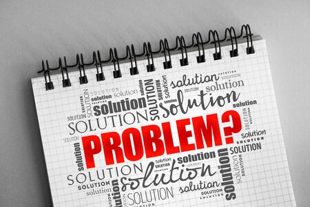 Problem and solution word cloud collage, business concept background Stockfoto