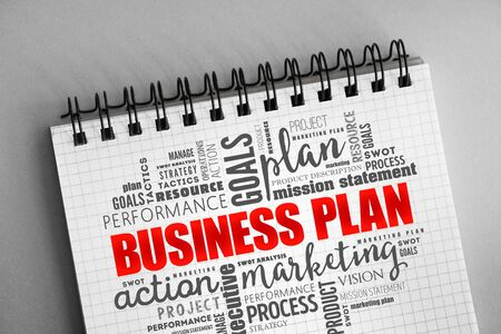 Business plan word cloud collage, business concept background Imagens