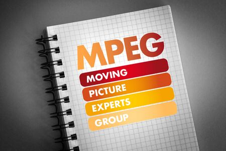 MPEG - Moving Picture Experts Group acronym, technology concept
