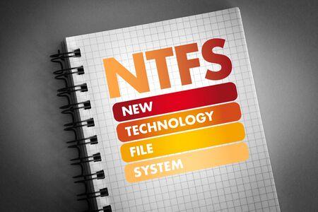 NTFS - New Technology File System acronym, technology concept background Imagens