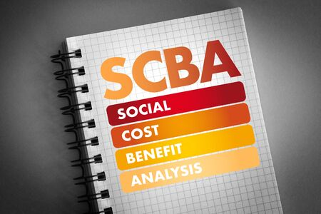 SCBA - Social Cost Benefit Analysis acronym, business concept background