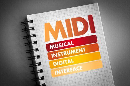 MIDI - Musical Instrument Digital Interface acronym, concept background Imagens