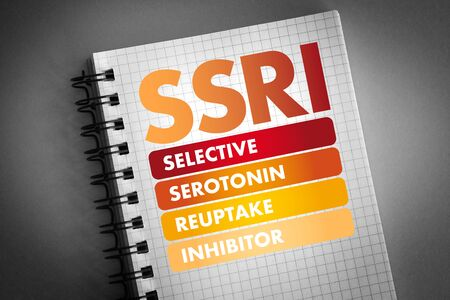 SSRI - Selective Serotonin Reuptake Inhibitor acronym, medical concept background