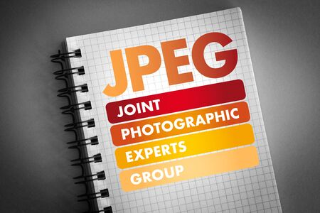 JPEG - Joint Photographic Experts Group acronym, concept background Stok Fotoğraf