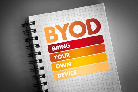 BYOD - acronyme Apportez votre propre appareil, arrière-plan du concept technologique