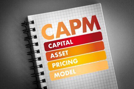 CAPM - Capital Asset Pricing Model acronym, business concept background Banco de Imagens