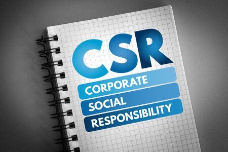 CSR - Corporate Social Responsibility acronym, business concept background Stok Fotoğraf