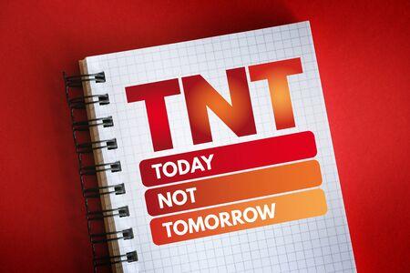 TNT - Today Not Tomorrow acronym, business concept background Reklamní fotografie