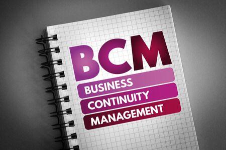 BCM - Business Continuity Management acronym, business concept Stock fotó - 133400490