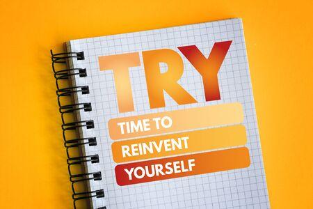 PROVA - Tempo per reinventarsi acronimo, sfondo del concetto di business