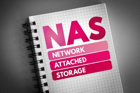 NAS - Network Attached Storage acronym, technology concept