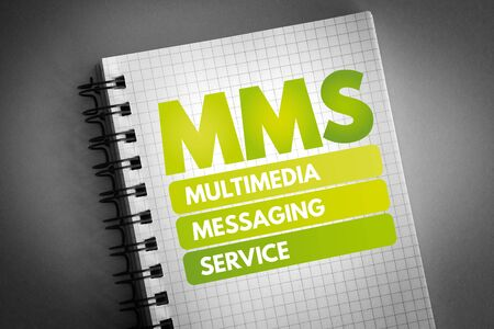 MMS - Multimedia Messaging Service acronym, technology concept background