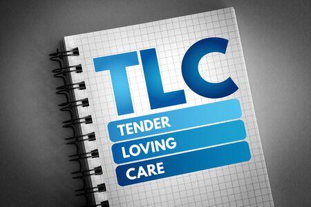 TLC - Tender Loving Care acronym, concept background Stock Photo