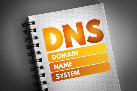 DNS - Domain Name System acronym, technology concept background Stock Photo