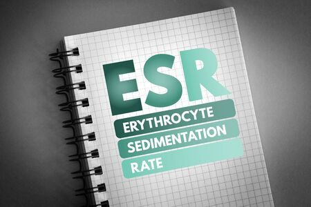 ESR - Erythrocyte Sedimentation Rate acronym, concept background Stockfoto