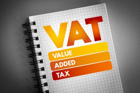 VAT - Value Added Tax acronym, business concept background 免版税图像