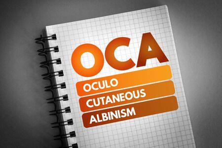 OCA - Oculo Cutaneous Albinism acronym, concept background