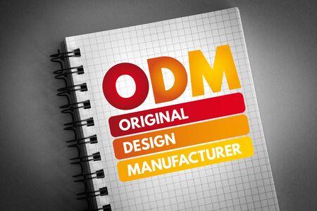 ODM - Original Design Manufacturer acronym, business concept background