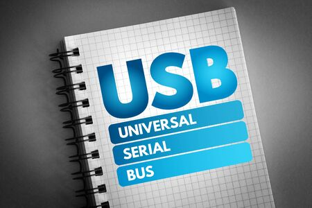 USB - Universal Serial Bus acronym, technology concept background