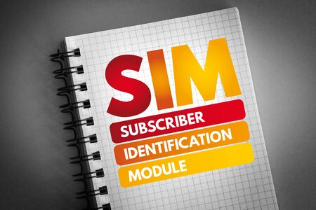 SIM - Subscriber Identification Module acronym, technology concept background 版權商用圖片