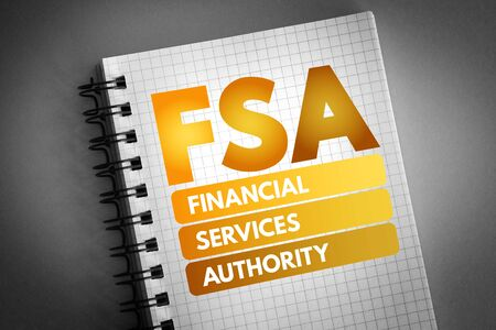 FSA - Financial Services Authority acronym, business concept background 版權商用圖片