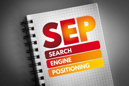 SEP - Search Engine Positioning acronym, technology concept background