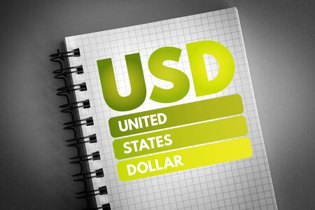 USD - United States Dollar acronym, business concept background 版權商用圖片