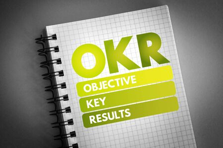 OKR - Objective Key Results acronym, business concept background