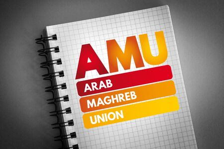 AMU - Arab Maghreb Union acronym, business concept background