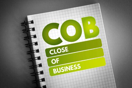 COB - Close of Business acronym, concept background