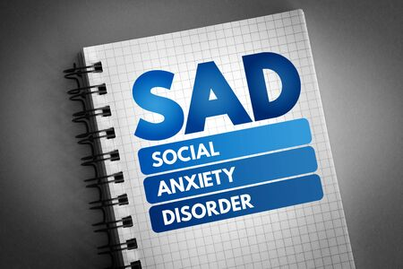 SAD - Social Anxiety Disorder acronym, concept background 版權商用圖片