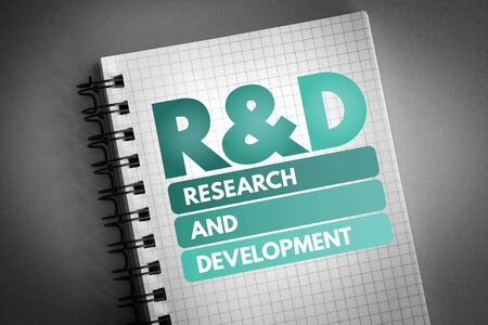 R&D - Research and Development acronym, business concept background 版權商用圖片