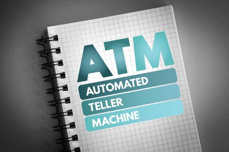 ATM - Automated Teller Machine acronym, concept background