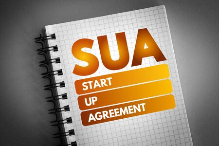 SUA - Start Up Agreement acronym, business concept background
