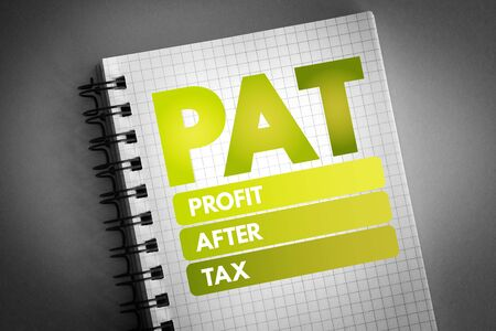 PAT - Profit After Tax acronym, business concept background