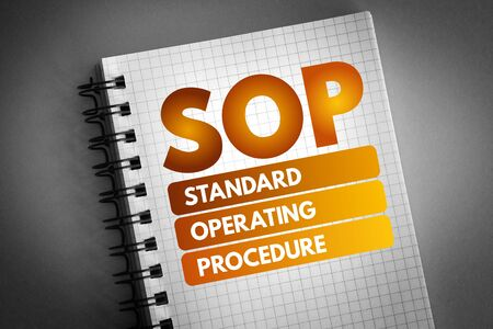 SOP - Standard Operating Procedure acronym, business concept background 스톡 콘텐츠