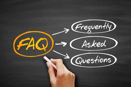 FAQ - Frequently Asked Questions acronym on blackboard, business concept background 版權商用圖片