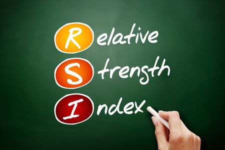 RSI - Relative Strength Index acronym, business concept background Foto de archivo - 134858032