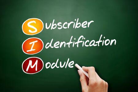 SIM - Subscriber Identification Module acronym, technology concept background Foto de archivo - 134858049