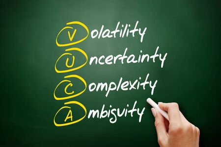 VUCA - Volatility, Uncertainty, Complexity, Ambiguity acronym, business concept on blackboard