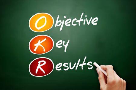 OKR - Acronyme des résultats clés objectifs, concept d'entreprise sur tableau noir