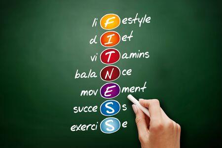 FITNESS - Lifestyle diet vitamins balance movement success exercise acronym, health concept background Stock Photo