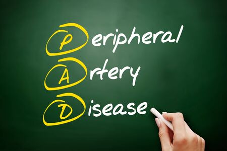 PAD - Peripheral Artery Disease acronym, health concept background Foto de archivo - 134858196