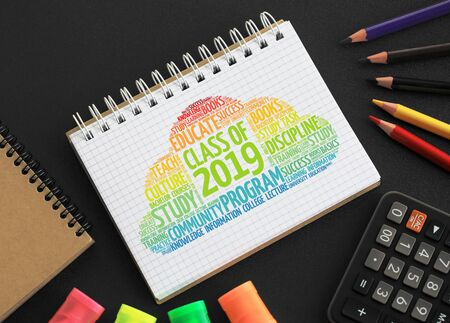 CLASS OF 2019 word cloud, education concept background Imagens