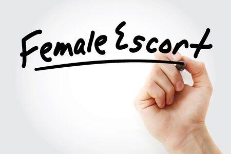 Handschrift weibliche Eskorte mit Marker, Konzepthintergrund